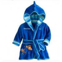 Children Sleepwear Hooded Bathrobe Towel Baby Boys Girls Flannel Lovely Cartoon Animal Robes Dressing Gown Kids Home Clothing - Blue