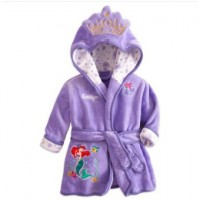 Children Sleepwear Hooded Bathrobe Towel Baby Boys Girls Flannel Lovely Cartoon Animal Robes Dressing Gown Kids Home Clothing - Purple