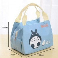 Korean style lovely cloth art room lunch insulation bag water-proof Oxford cloth bag with zipper lunch box lunch bag--BLUE