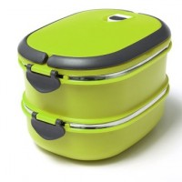 2 Layers Stainless Steel Lunch Box Picnic Storage Box - Green