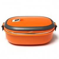 1 Layers Stainless Steel Lunch Box Picnic Storage Box Insulated Thermal Orange
