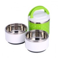 3 Layer Stainless Steel Insulation Lunch Box Food Container(Green)