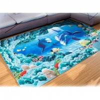 (40 X 60) 3D Blue Ocean Sea Fish Printing Bathroom Kitchen Carpet Anti-slip