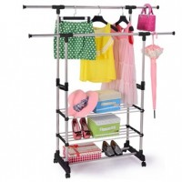 (Adjustable Height & Length Stainless Steel) Portable Double Pole Clothes Hanging Rack Stand