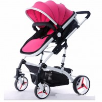 Luxurious High View Detachable Bassinet Baby Stroller - Pink White