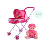Pretend Play Doll Stroller Simulation + Free Doll - New Design - Type 2