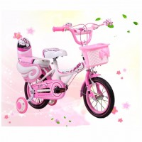 Girls Bike with Double Seat and Training Wheels 14 and 16 Inch-Pink Cutie Cat