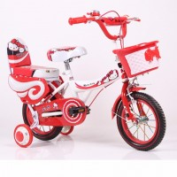 Girls Bike with Double Seat and Training Wheels 14 Inch - Red Cutie Cat