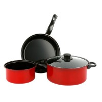 3 in 1 Chili Red Wok Pan Pot Set