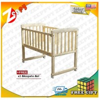 Cradle Baby Cot Wooden Rocking Table Baby Bed Play Pen (Natural Wood)