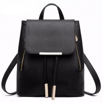 Korean Style Saffiano Effect Pu Leather Backpack (Black)