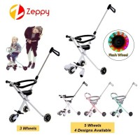 Simple Light Portable Kid Folding 3 and 5 Flash Wheels Stroller with Safety Ring