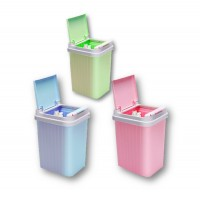 Creative Bathroom and Kitchen Trash Bin with European Lid Plastic Dustbin