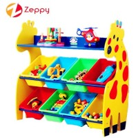 Giraffe Design Rack with Boxes Toy Shelf Organizer Storage Rack