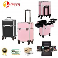 Make Up Artist Tool Box 4-Wheels Aluminium Trolley Beauty Suitcase Storage Box