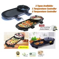 Home 2 in 1 Electric Barbecue BBQ Pan Grill and Hot Pot Steamboat (2 Types Available)