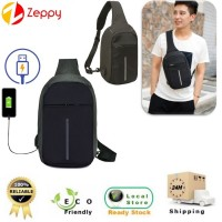 Crossbody Men Casual USB Charging Anti-Theft Chest Bag Travel Backpack