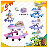 Baby Walker Foldable 8 Wheels With Toys And Music With Back Stopper