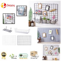Iron Wire Mesh Grid Photo Wall Hanging Shelf Basket Wall Decoration