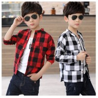 MII Children Plaid Dress Shirt Boys Cotton Patchwork Shirts