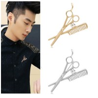MII Luxury Men's scissors Comb Suit Crystal Brooch Sweater Pin Badge