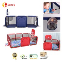 Foldable Kids Safety Barrier Playpen Pool Balls With Basketball Loop Kid Play Fence