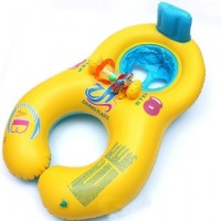 Adults Babies Inflatable Pool Swim Ring Seat Float Boat Yellow